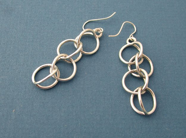 Rain Chain - Precious Metal Earrings  in Polished Silver (Interlocking Parts)