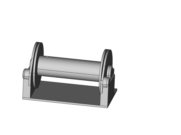 Winch, working (45 x 26.5mm) (basic) in White Processed Versatile Plastic