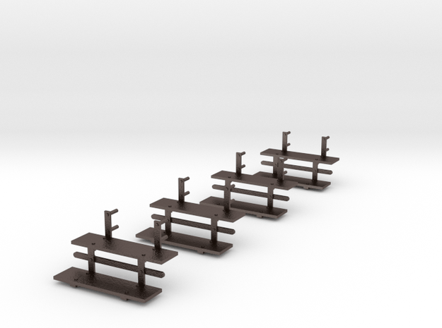 Early Passenger Car Steps (4) in Polished Bronzed-Silver Steel: 1:20