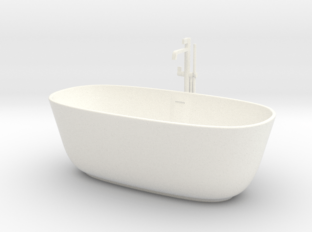 1:24 Bath tub with shower in White Processed Versatile Plastic