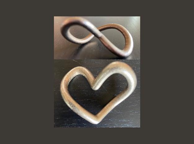 Valentines 2 Infinity Hearts (Keep 1, Gift 1)   in Polished Nickel Steel