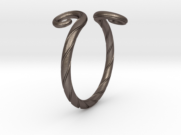 Medieval Ring in Polished Bronzed-Silver Steel