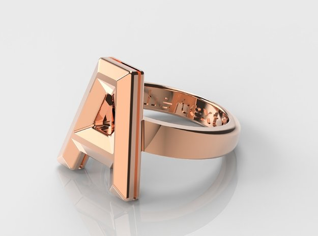 A in 14k Rose Gold Plated Brass