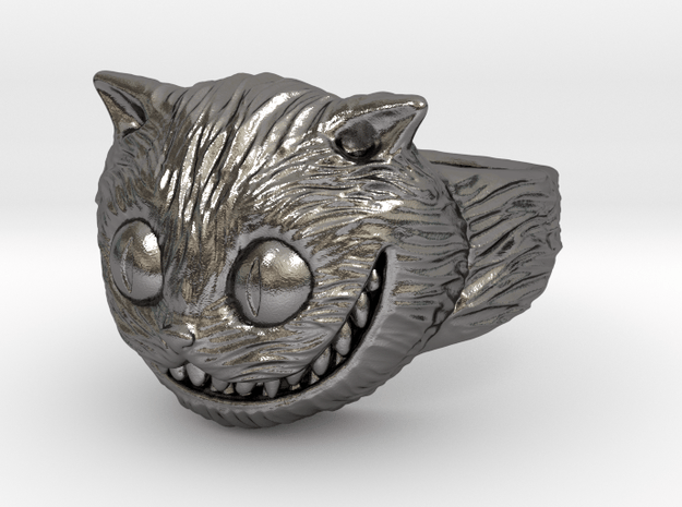 Cheshire Cat Ring (Size 9) in Polished Nickel Steel