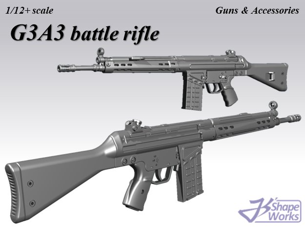 1/12+ G3A3 battle rifle in Smoothest Fine Detail Plastic: 1:12