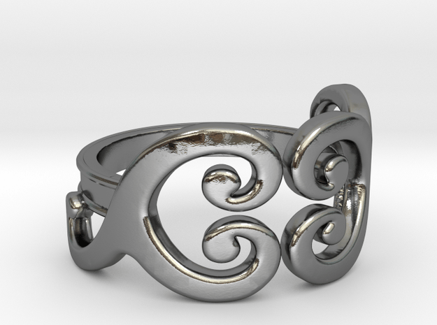 Swirls [ring] in Polished Silver