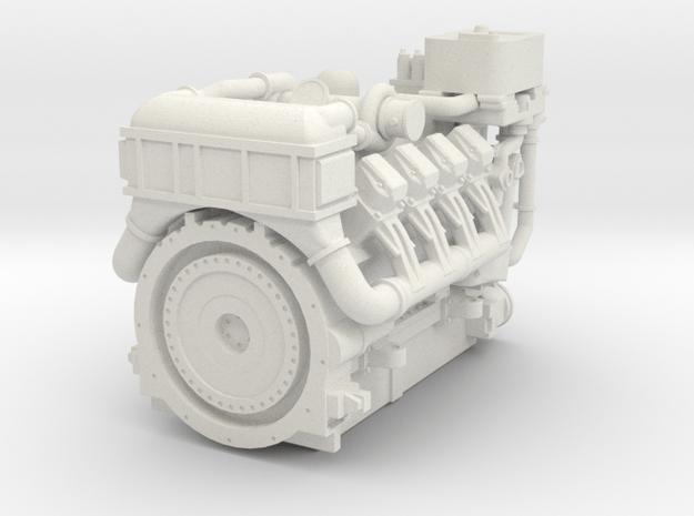 1380HP V8 Diesel Turbocharged Industrial Engine in White Natural Versatile Plastic: 1:87 - HO