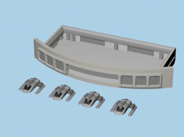 1/1400 Enterprise E Open Shuttle Bay w/Shuttles in Smooth Fine Detail Plastic