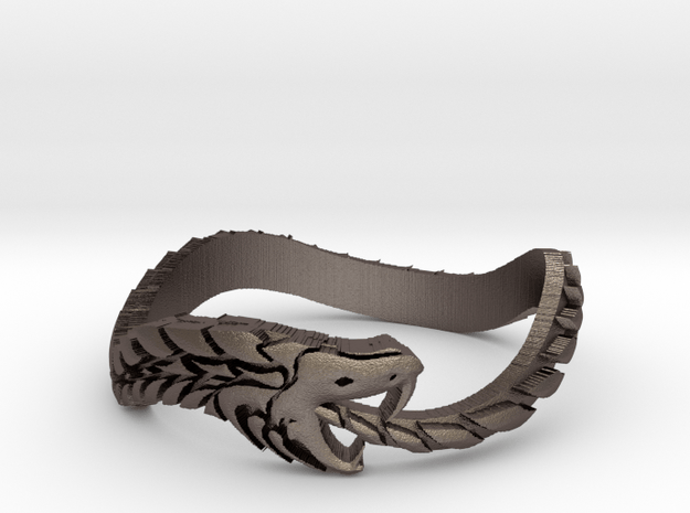 Ouroboros ring for her in Polished Bronzed-Silver Steel: 6 / 51.5