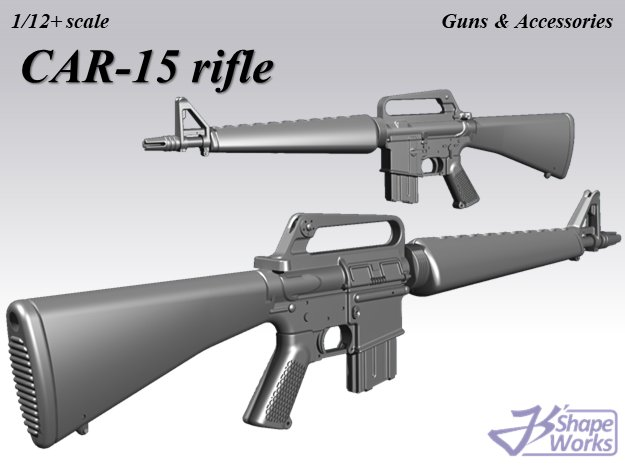 1/12+ CAR-15 rifle (model605) in Smoothest Fine Detail Plastic: 1:12