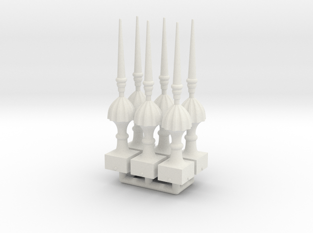 Finial Semaphore Victorian Spike 1-19 scale pack  in White Natural Versatile Plastic