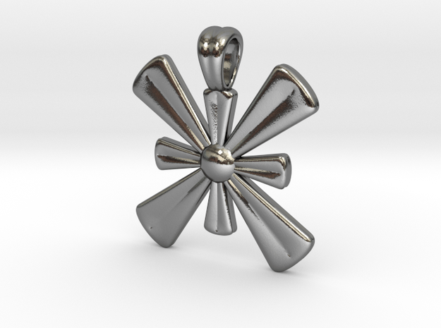 Double cross [pendant] in Polished Silver