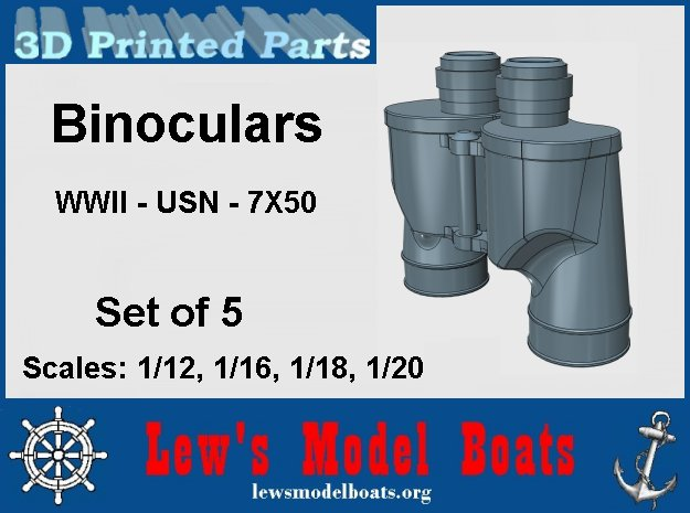7X50 Binoculars, WWII style, set of 5 in Smooth Fine Detail Plastic: 1:20