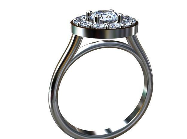 AB050 Halo Ring in Platinum
