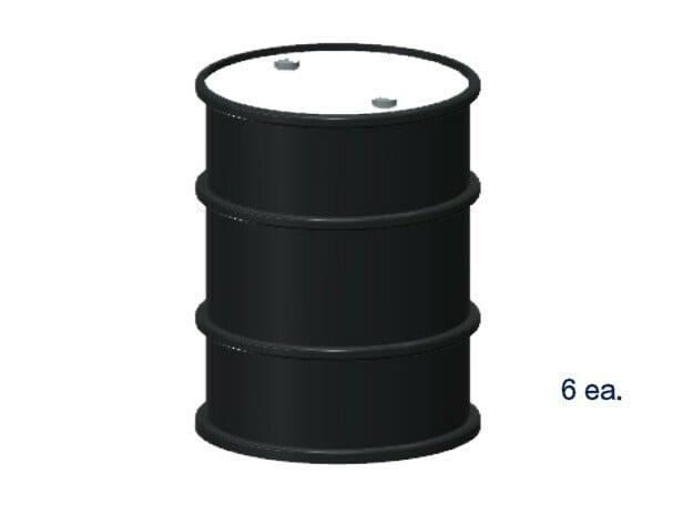 55 Gal Drum (6 ea.) (HO) in White Natural Versatile Plastic: 1:87 - HO