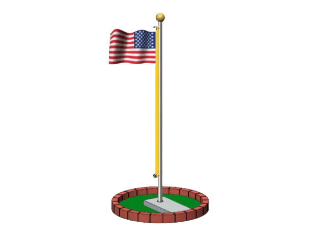 Flag Pole Assembly in White Natural Versatile Plastic