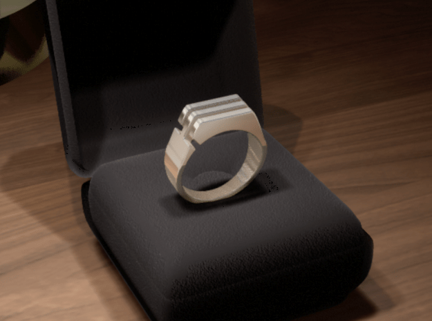 Three lines Seal [sizable ring] in Polished Silver