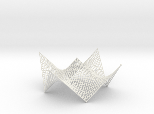 Hyperbolic-Paraboloid Doubly-Ruled Shelter / Roof  in White Natural Versatile Plastic