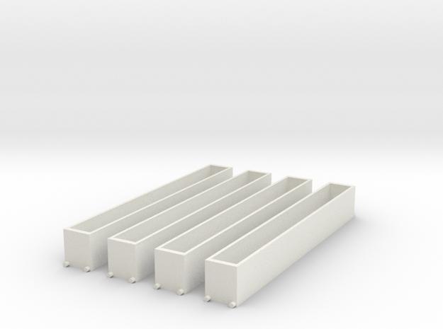 T gauge 1.450 Box Wagon x4 in White Natural Versatile Plastic
