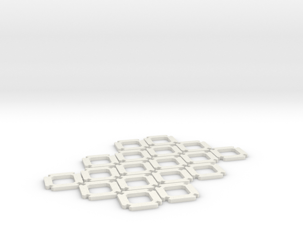 Truncated Octahedron Kit (15 mm) in White Natural Versatile Plastic