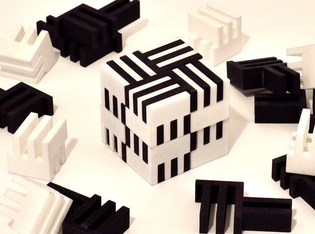 Puzzle Cube, Positive, (white) pieces in White Natural Versatile Plastic