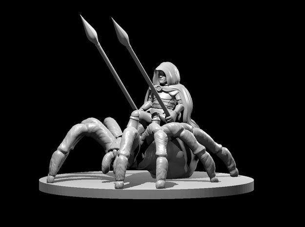 Halfling Male Ranger on Giant Spider in Smooth Fine Detail Plastic