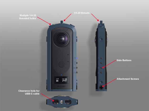 Cage for the Ricoh Theta Z1 and Z1 51 MB camera. in Black Natural Versatile Plastic