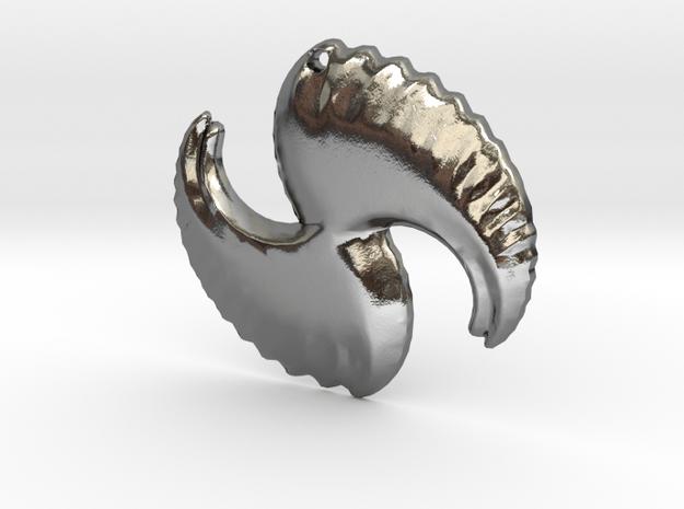 3D Fractal Pendant in Polished Silver