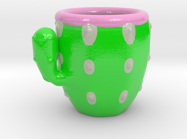 Cactus Cofee Cup in Glossy Full Color Sandstone