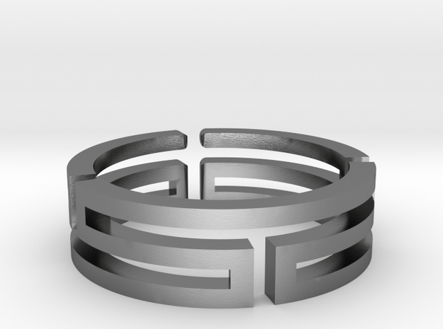 A maze in open ring in Polished Silver