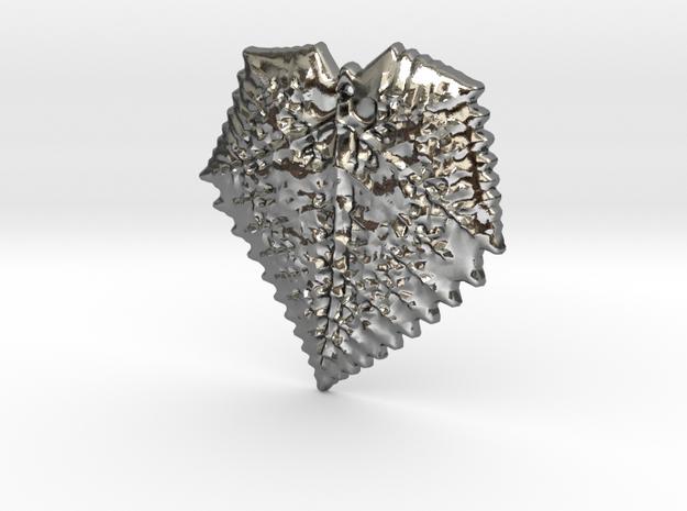 3D Fractal Leaf Pendant in Polished Silver