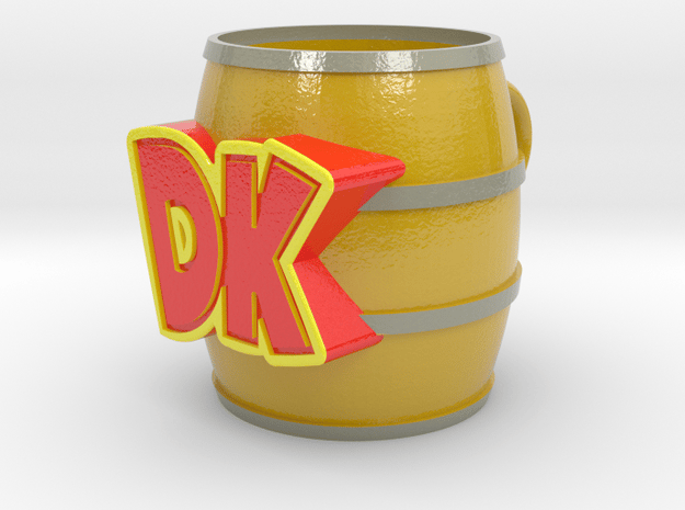 Donkey Kong Barrel Cup in Glossy Full Color Sandstone