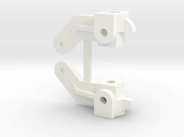 RC10 STEERING BLOCK SET in White Processed Versatile Plastic