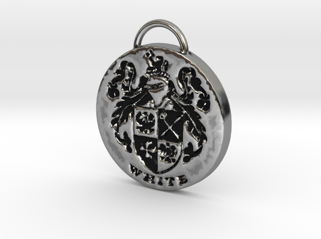 White Family Crest Pendant or Keychain in Antique Silver