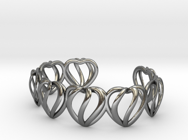 Heart Cage Bracelet (8 small hearts) in Polished Silver