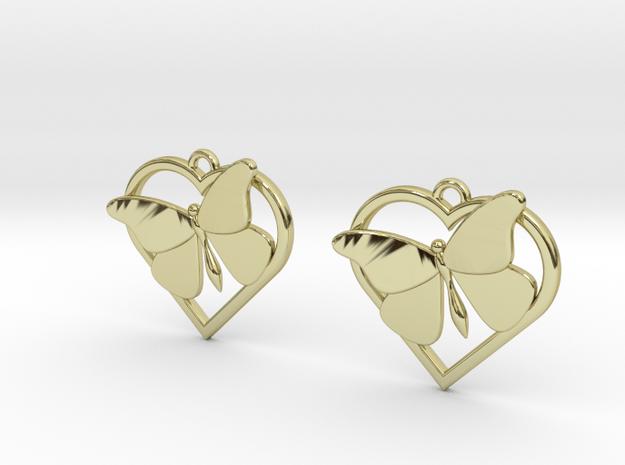 Heart Butterfly Earrings in 18k Gold