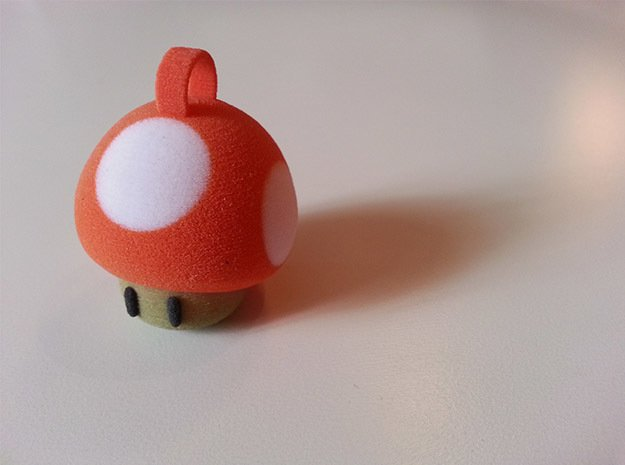 Super Mario Mushroom Keychain in Full Color Sandstone