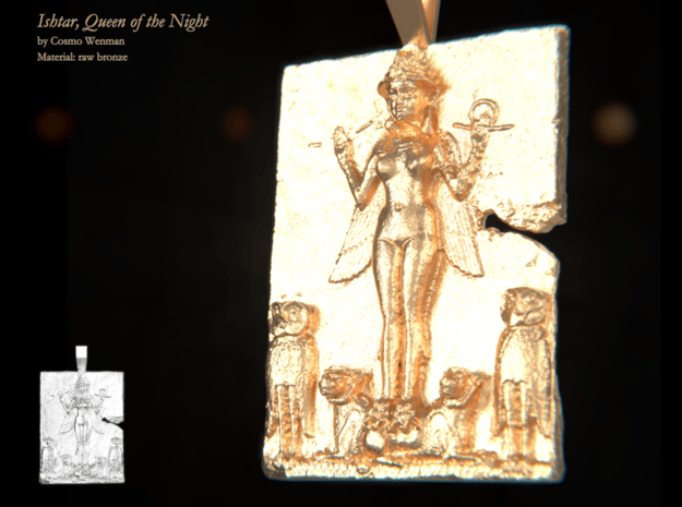 ISHTAR, Queen of the Night necklace pendant in Natural Bronze