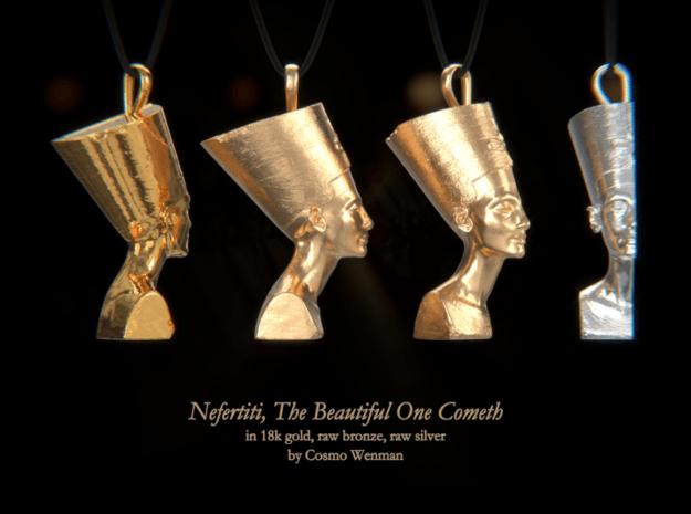 NEFERTITI necklace pendant (profile) in Natural Bronze
