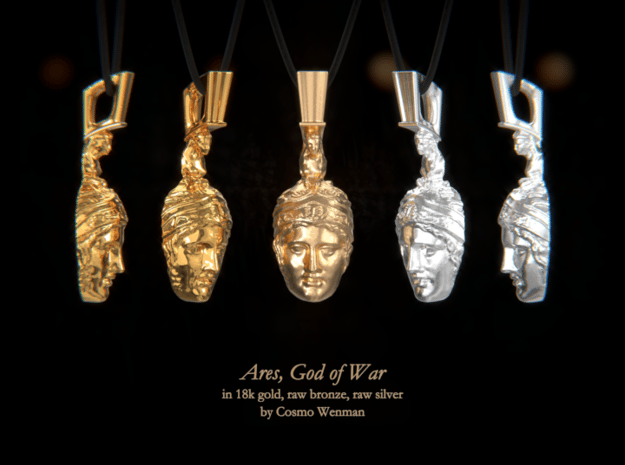 ARES, God of War necklace pendant (facing foward) in Natural Bronze