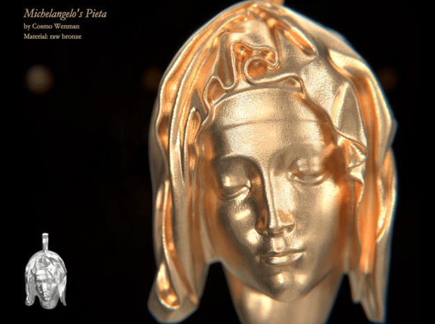 MICHELANGELO'S PIETÀ necklace pendant in 18k Gold Plated Brass