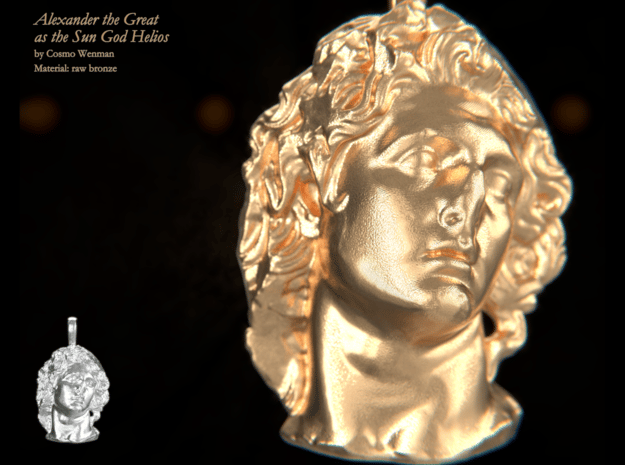 ALEXANDER THE GREAT as the Sun God Helios pendant in Natural Bronze