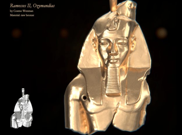 RAMESSES II, OZYMANDIAS necklace pendant in Natural Bronze