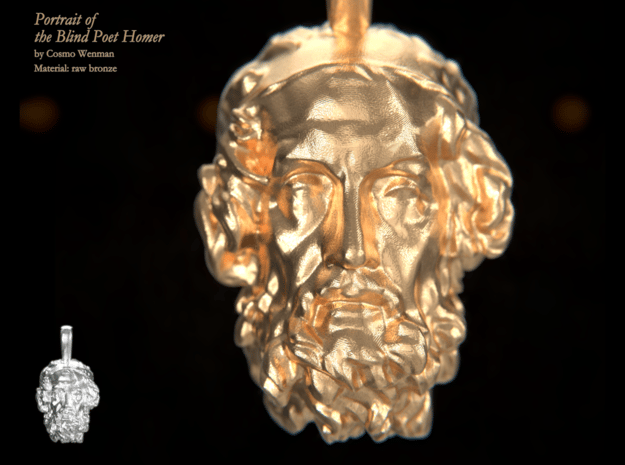 HOMER, the Blind Poet necklace pendant in Natural Bronze
