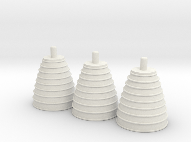 1/100 Space Shuttle Engine Nozzles - Set of 3 in White Natural Versatile Plastic