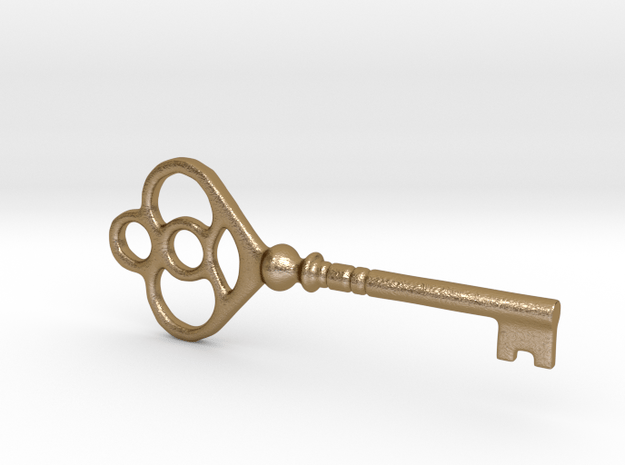 Indian key 4 in Polished Gold Steel