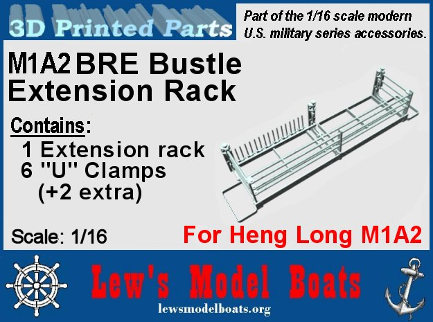M1A2 BRE Bustle rack 1/16 scale in White Natural Versatile Plastic: 1:16