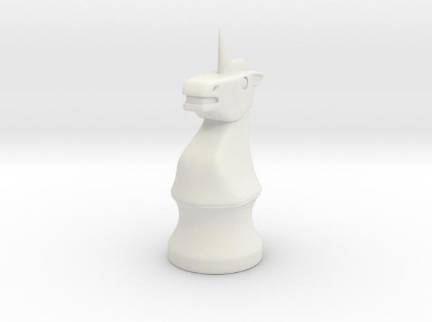 Unicorn Knight Chess Piece in White Natural Versatile Plastic