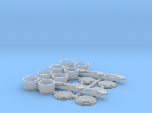 Small Cups with spoons 1/12 scale in Smooth Fine Detail Plastic