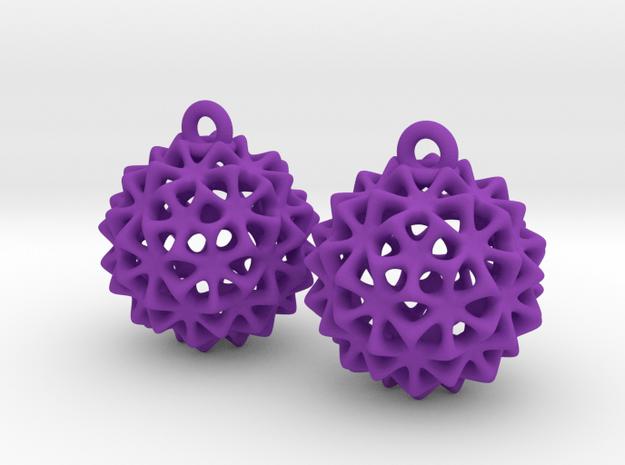 Virus Ball -- Earrings in Nylon in Purple Processed Versatile Plastic